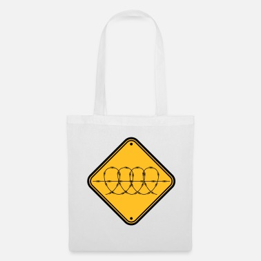 Military zone shield caution note barbed wire secure - Tote Bag