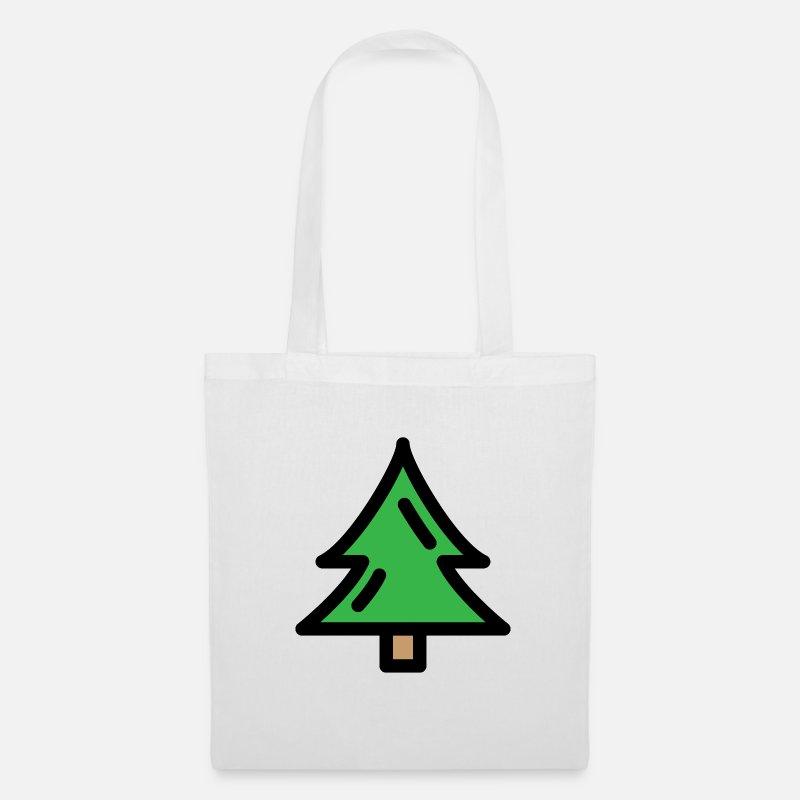 Symbol Weihnachtsbaum.Weihnachtsbaum Christbaum Tannenbaum Geschenk Stoffbeutel Weiß