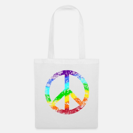 Peace Tassen & rugzakken - Peace Sign Rainbow Tolerance Peace Graffiti - Stoffentas wit