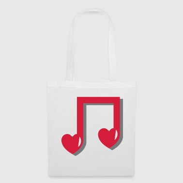 Music Note Musical note with heart - music, notes, note, red - Tote Bag