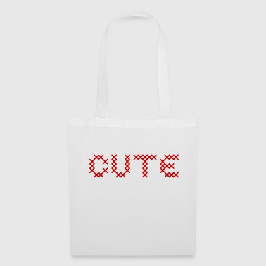 CUTE au point de croix rouge - Tote Bag