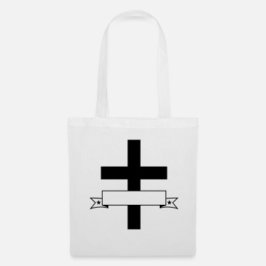 Hockey write banner text box name cross god believe - Tote Bag