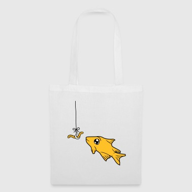 worm hook fishing hook cord rope comic cartoon ge - Tote Bag