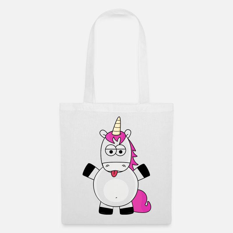 Fantasy Bags & Backpacks - unicorn sticks out his tongue - Tote Bag white
