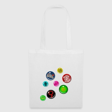 Pin Fake Buttons Chica Girl Power - Bolsa de tela