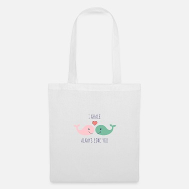 Loves Cute whales love in love saying love gift couple - Tote Bag