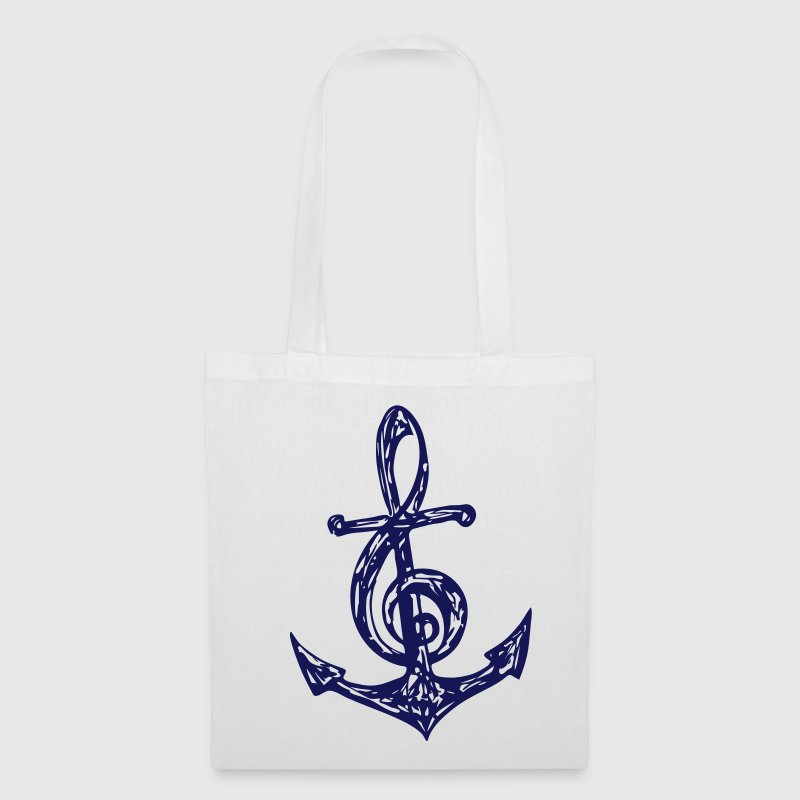 Anchor, music note, bass, clef, musician, sailing, - Tote Bag