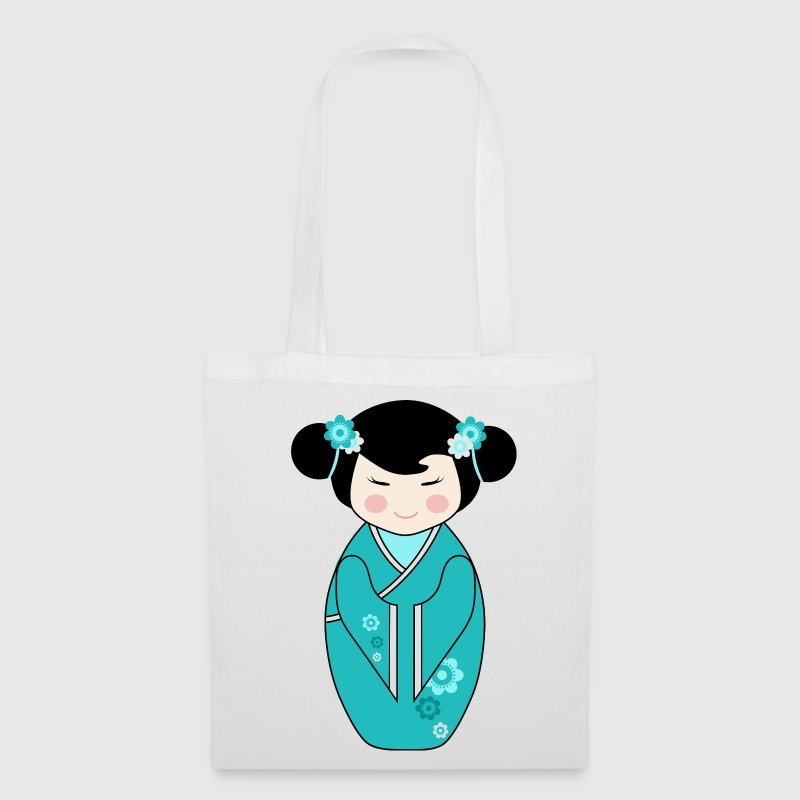 Cute Kokeshi Doll Illustration in Blue - Tote Bag