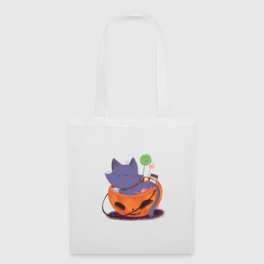 Super Maman Halloween - tour ou régal - chat - citrouille - Tote Bag