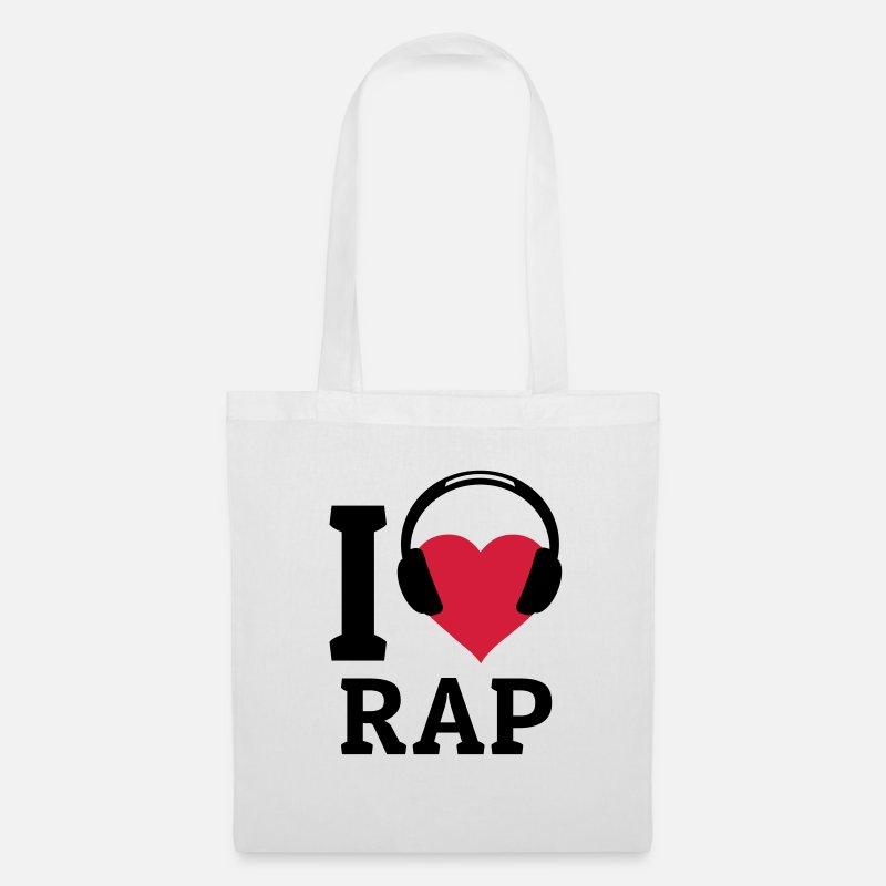 Beat Laukut ja reput - I love Rap rakastan rap - Kangaskassi valkoinen f3f1425e68