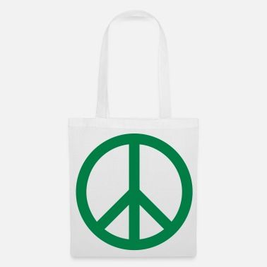Green Peace Peace Sign Filled Green - Tote Bag