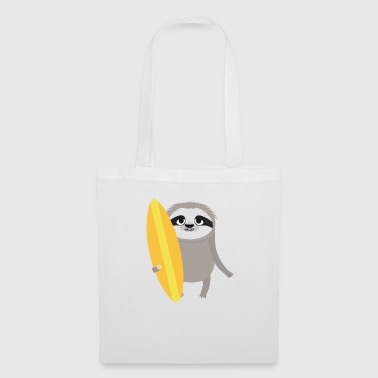 Sloth Surfer Sloth with Surfboard - Tote Bag