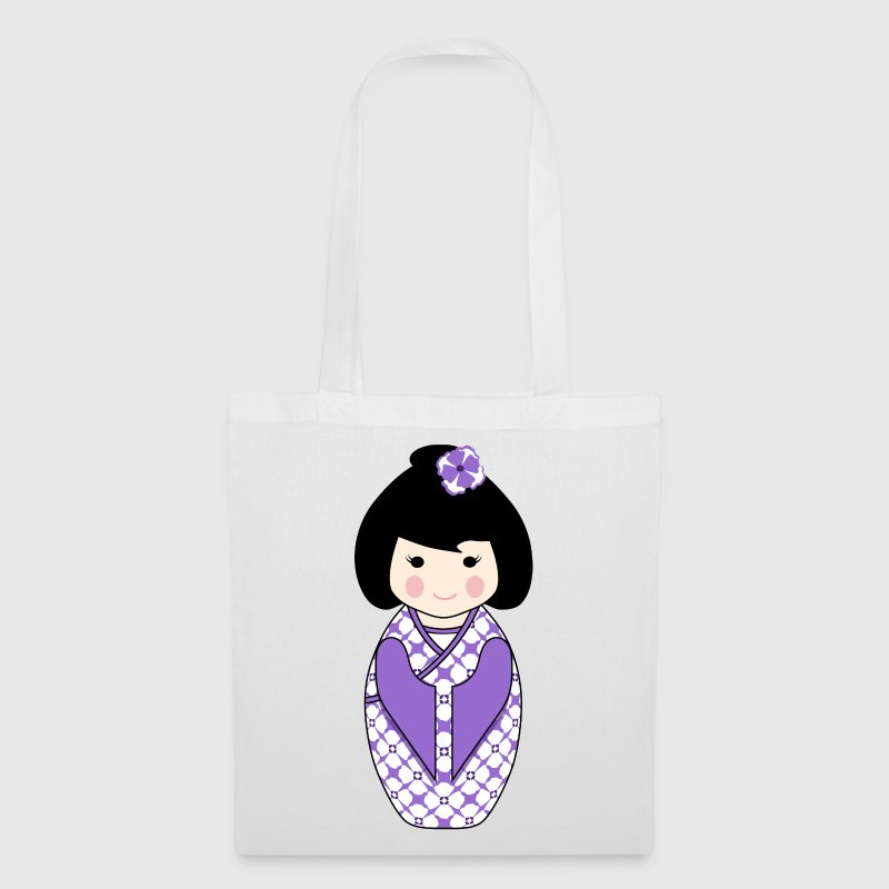 Cute Kokeshi Doll Illustration in Purple and White - Tas van stof