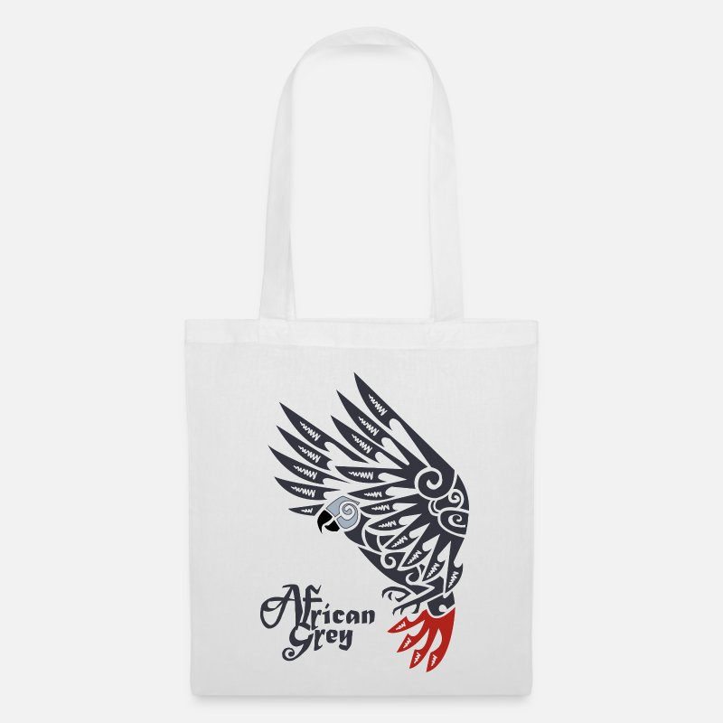 Parrot Bags & Backpacks - African grey parrot tribal tattoo - Tote Bag white