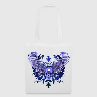 blue skull with wings - Tote Bag