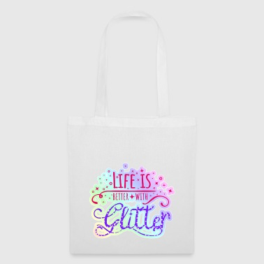 Glitter rainbow pastel colors Life is glitter - Tote Bag