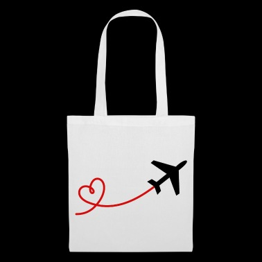 Airplane aviator with heart in black red - Tote Bag