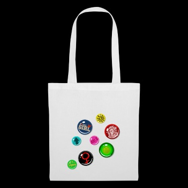 Pin Fake Buttons Fille Fille Puissance - Tote Bag