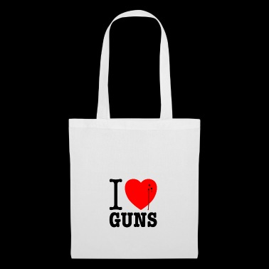 I love guns! Weapons satire. Bullet hole with blood - Tote Bag