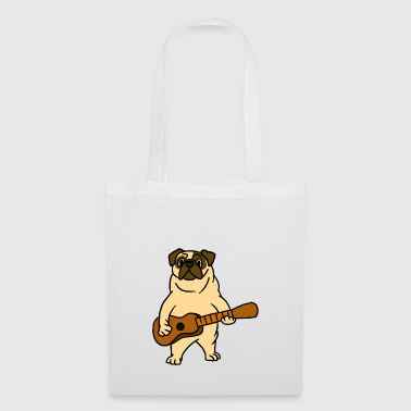 Carlin chien jouant Guitar Guitarist Cartoon Animal - Tote Bag
