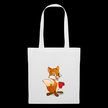 Fox con Coffee Gift Cartoon Kawaii - Borsa di stoffa