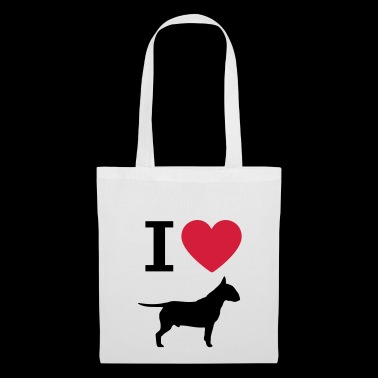 I love bull terrier, heart and dogs silhouette - Tote Bag