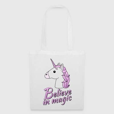 Unicorn head with text Believe in magic in lilac - Tote Bag