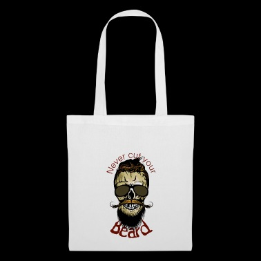 head of death quote never cut beard hipster barb - Tote Bag