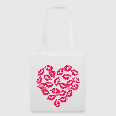 Kissing Lips Heart - Borsa di stoffa
