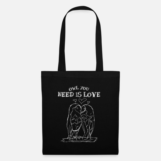 Night Owl Bags & Backpacks - All you need is love - Tote Bag black