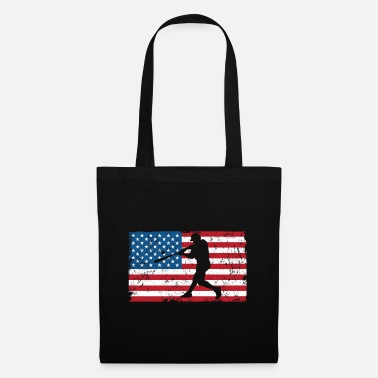 Batting Helmet Baseball Sports America Flag Gift - Tote Bag