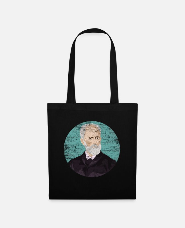 Composer Bags & Backpacks - Pyotr Tchaikovsky gift - Tote Bag black
