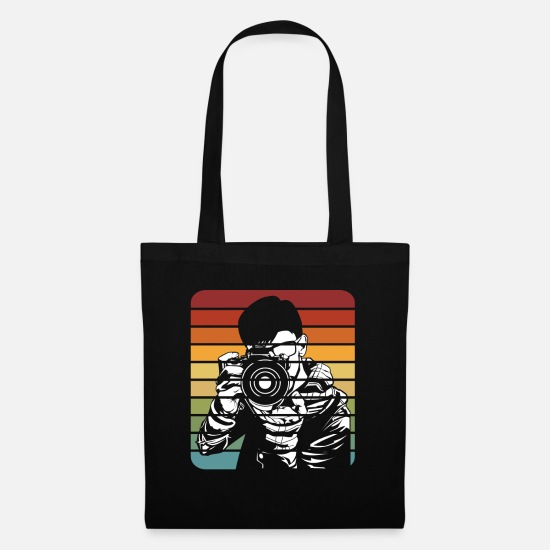 Image Bags & Backpacks - Retro photographer photographing photography gift - Tote Bag black