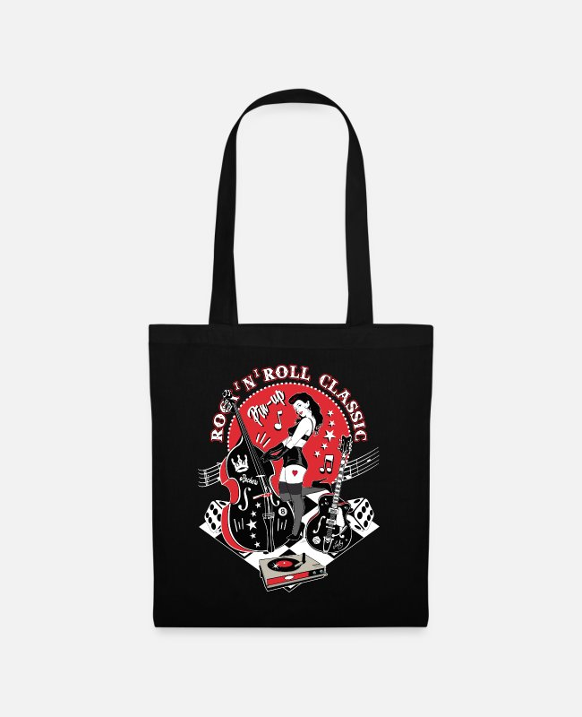 Guitars Bags & Backpacks - Rockabilly Vintage Rocker Rock N Roll Pinup - Tote Bag black