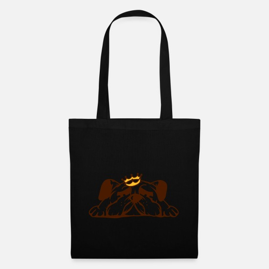 Purebred Bags & Backpacks - A cute pug with crown - Tote Bag black