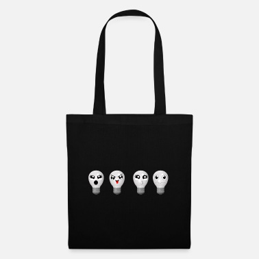 Facial Expressions funny light bulbs with faces - Tote Bag