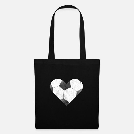 National Team Bags & Backpacks - Football heart, I love football, goalkeeper, penalty - Tote Bag black