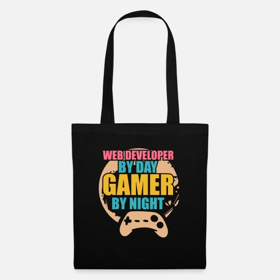 Coder Borse & Zaini - Sviluppatore Web Developer By Day Gamer By Night - Borsa di stoffa nero