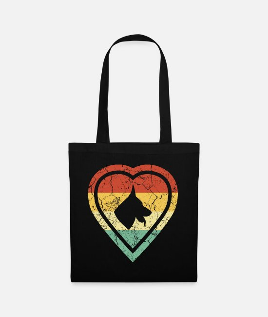 German Shepherd Bags & Backpacks - Grunge heart retro vintage shepherd dog love - Tote Bag black