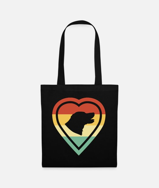 Heart Bags & Backpacks - Retro heart retro vintage retriever dog love - Tote Bag black