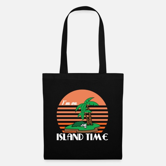 Palm Bags & Backpacks - Cute Tropical Island With Palm Trees And Island - Tote Bag black