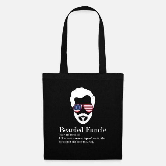 "Dad Bags & Backpacks - Gifts for Mens Beards ""Bearded Funcle Most - Tote Bag black"