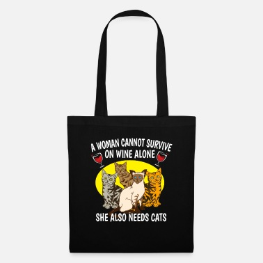 Wine Wine Cats Woman Cat Lady Cat Mother Gift - Tote Bag