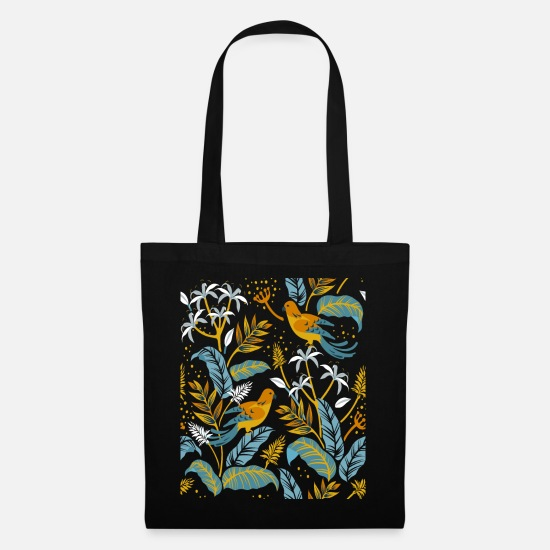 Flowercontest Bags & Backpacks - two birds and flowers - Tote Bag black
