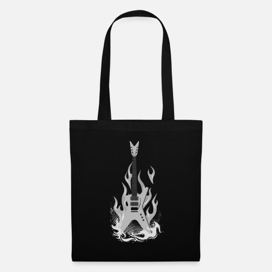 Birthday Bags & Backpacks - white electric guitar gift - Tote Bag black