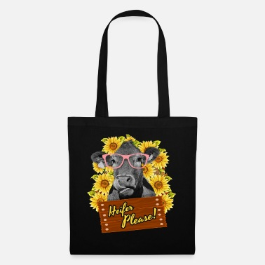 Farmer Heifer Please Funny sunflower cow glasses - Tote Bag