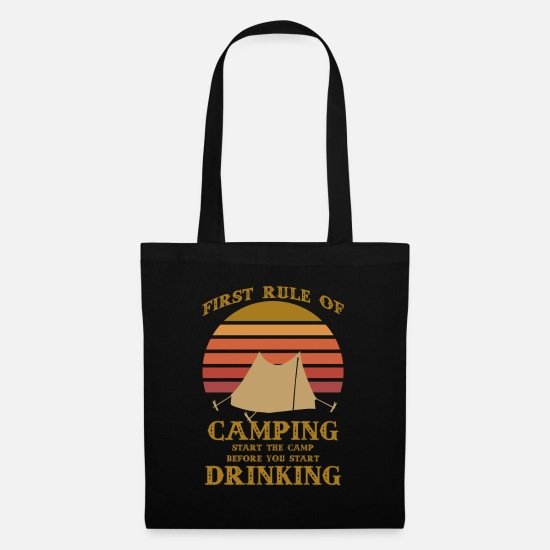 Alcohol Bags & Backpacks - Camper hiker camping nature shirt gift - Tote Bag black