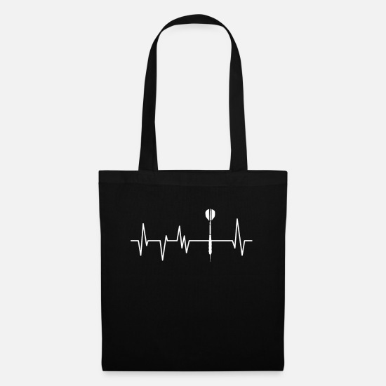 Darts Bags & Backpacks - Dart tournament Dart Darts player Heartbeat arrow - Tote Bag black
