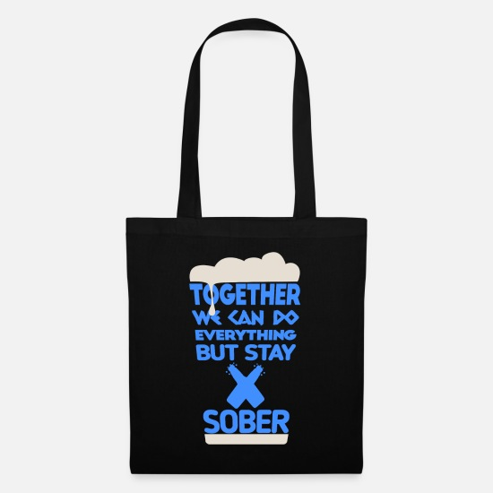 Alcohol Bags & Backpacks - Together Beer Drinking Friendship Drinking Couple - Tote Bag black