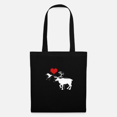 Style Bird and deer lovers heart animals gift - Tote Bag